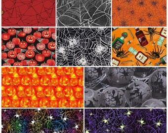 Jack O'Lantern, Mummies, Pumpkins, Spider Webs, Stars Halloween 100% Cotton Fabric! 10 Styles  [Choose Your Cut Size]