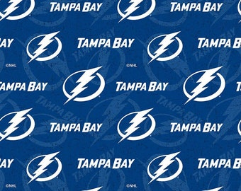 NHL Logo Tampa Bay Lightning Blue & White #1199 Cotton Fabric by Sykel! [Choose Your Cut Size]
