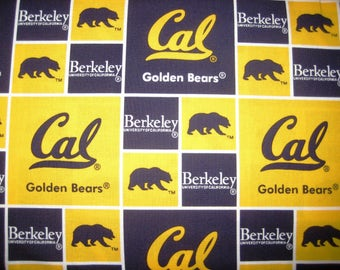 NCAA University of California Berkeley, Blue & Gold CAL 020 College Logo Cotton Fabric by Sykel! [Choose Your Cut Size]