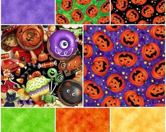 Trick & Treat! Spooky Halloween Pumpkins and Donuts 100% Cotton Fabrics by QT!