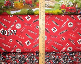 Farmall Tractor Cotton Fabric by Print Concepts! 12 Options  [Choose Your Cut Size]
