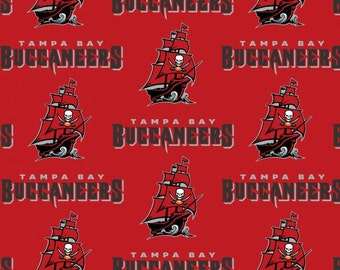 NFL Logo Tampa Bay Buccaneers 6488 Red 100% Cotton Fabric by Fabric Traditions! [Choose Your Cut Size]