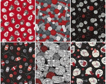 Sheep Knitting & Yarn Sewing Motif Cotton Fabric by Timeless Treasures! [Choose Your Cut Size]