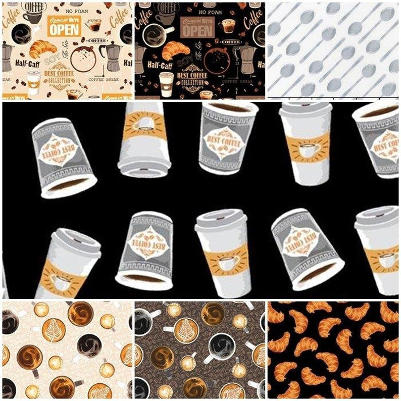 Coffee Shop 100% Cotton Fabric by Windham 7 Styles Choose image 0