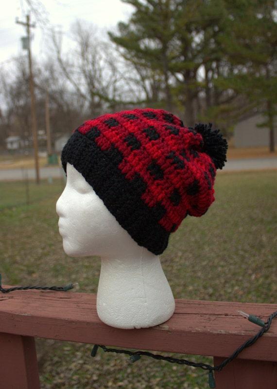Buffalo Plaid Hat Slouch Beanie Hat Slouchy Hat Beanie  d5486ca9208
