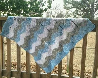 Baby Crochet Blanket, Baby Blue Blanket, Baby Boy Blanket, Blue Chevron Blanket, Baby Chevron Blanket, Baby Ripple Blanket, Crochet Blanket