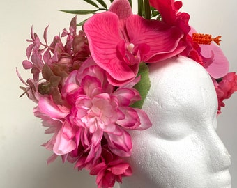 Tropical Tiki Hair Flower Crown Pink Passion Bouquet