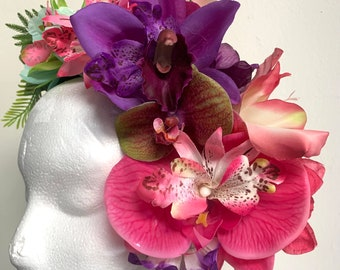 Tropical Tiki Hair Flower Half Crown Tiki Party Orchids Bouquet
