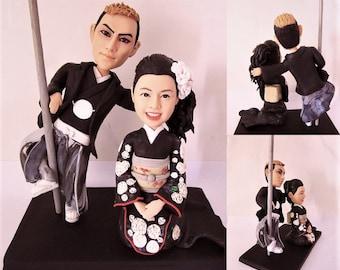 Japanese style handmade wedding cake topper