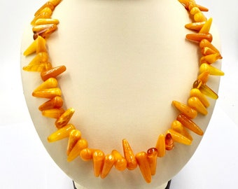 """VINTAGE AMBER NECKLACE - Egg Yolk Butterscotch Baltic Amber - Natural Amber Cone Beads - 47.7  Grams - 24.5"""" Long Amber Necklace"""