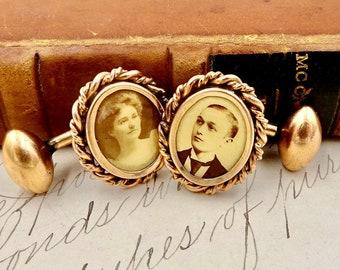 ANTIQUE GOLD CUFFLINKS 14K Yellow Gold Photograph Cuff Links Victorian Couple Man & Woman E221