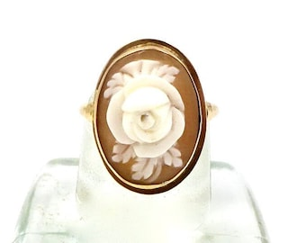 ROSE CAMEO RING 14K Yellow gold Floral Rose Flower Art Nouveau Sz 4 Vintage E218