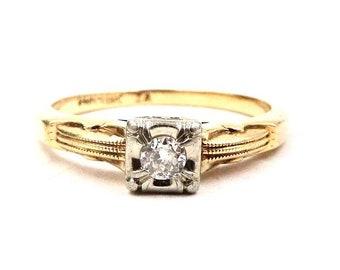 VINTAGE DIAMOND RING 18K & 14K Yellow Gold Solitaire Diamond Engagement Ring Sz 4 1/4 Art Deco Era E214