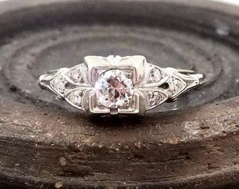 ANTIQUE DIAMOND RING 18K White Gold  Diamond Ring Art Deco Era Sz 6 1/4