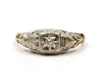 ANTIQUE DIAMOND RING 14K Gold Solitaire Diamond Two Hearts Ring Art Deco Sz 6 1/2 Sweetheart Promise Engagement Wedding E215