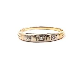 ANTIQUE 14K GOLD RING Triple Diamond Ring Yellow & White Gold Wedding or Stack Ring Sz 6 1/2 Vintage Art Deco Era E216