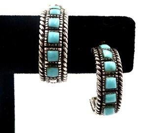 STERLING TURQUOISE EARRINGS Sterling Silver Turquoise Half Hoop Earrings Southwestern Native American Style Vintage
