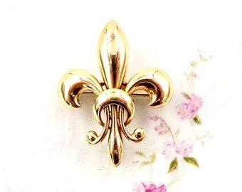 Antique 14k GOLD WATCH PIN 14k Yellow Gold Fleur-De-Lis Watch Brooch Charm Holder Pin Vintage E231