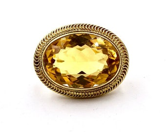 Antique 14k GOLD CITRINE PIN 14k Yellow Gold 18 X 13 mm Facet Cut Oval Citrine Brooch Pin Vintage E232