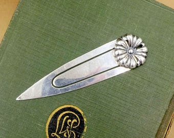2805225ca173b STERLING SILVER BOOKMARK - 925 Sterling Silver Page Book Mark 3D Flower  Design Napeir