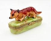 Vintage LIMOGES TRINKET BOX - France Porcelain - Hand Painted Peint Main - Red Fox Hunting Equestrian Steeplechase Horse - Chamart