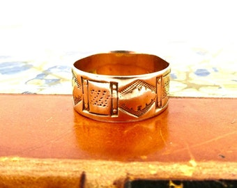 ANTIQUE CIGAR BAND Ring 10K Yellow Gold Etched Pattern Sz 6 1/4  Victorian