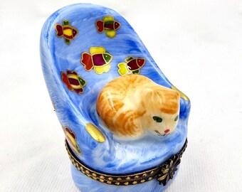 LIMOGES FRANCE TRINKET Box Whimsical Cat on Chair Fish Print Vintage
