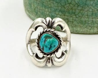 STERLING TURQUOISE RING 925 Sterling Silver Native American Turquoise Sand Cast Ring Vintage Navajo
