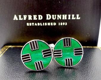 DUNHILL STERLING CUFFLINKS Sterling Silver Enamel Cuff Links In Box