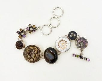 STERLING BUTTON BRACELET 925 Sterling Silver Mounted Antique Buttons Gemstone Toggle Link Bracelet Vintage