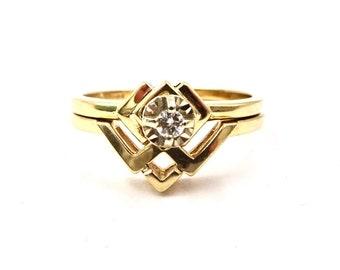 Vintage WEDDING BAND SET 14K Yellow Gold Wedding Band 14K Diamond Ring Retro Mod Modernist Style 1970's