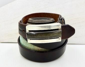 RIC TAXCO BELT Buckle Brown Leather Belt & Sterling Silver Belt Buckle Signed Erika Hult DeCorral Mexico Vintage