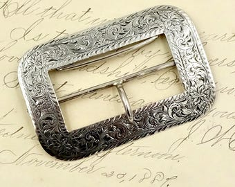 STERLING SILVER BUCKLE 925 Sterling Silver Etched Folate Belt Sash Buckle Antique Victorian
