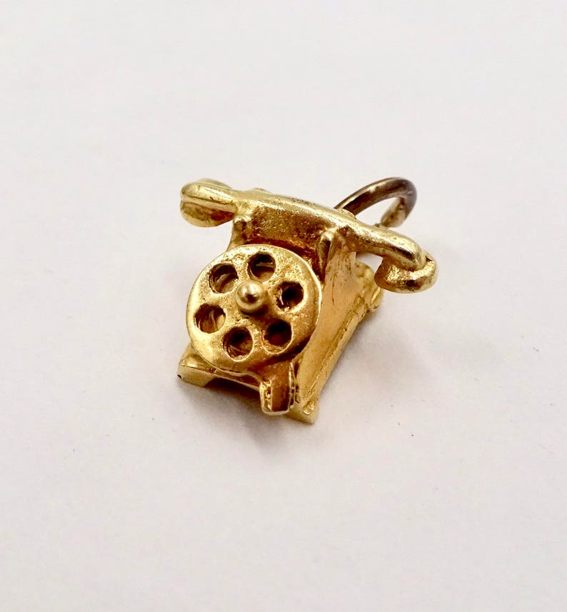585 14k Yellow Gold Movable Figural Old Fashioned Dial Telephone GOLD TELEPHONE CHARM Pendant Charm for Bracelet