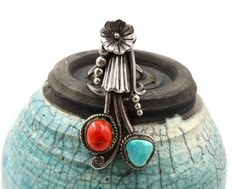 NAVAJO STERLING RING Native American Sterling Silver Turquoise Red Coral Ring Sz 6.25 Vintage Southwestern