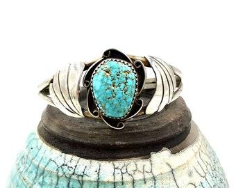 STERLING TURQUOISE BRACELET Sterling Silver Southwestern Native American Cuff Bracelet Vintage