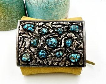 NAVAJO STERLING KETOH Bracelet Sterling Silver Nugget Turquoise Bow Arm Band Vintage