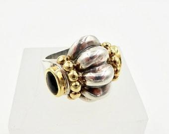 LAGOS CAVIAR RING 750 18k Yellow Gold 925 Sterling Silver Onyx Ring Sz 6.75