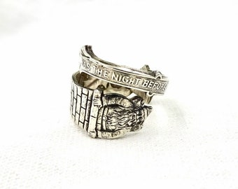 STERLING CHRISTMAS RING Sterling Silver Santa Claus Gorham Spoon Ring Twas The Night Before Christmas Antique Sz 5 1/2