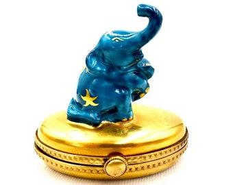 LIMOGES TRINKET BOX Blue Circus Elephant France Hand Painted Porcelain Vintage