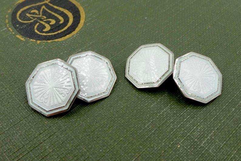 STERLING ENAMEL CUFFLINKS 925 Sterling Silver Pale Green Guilloche Enamel Cuff Links Vintage Krementz