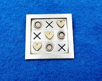 ED LEVIN PIN Brooch Sterling Silver 14K Gold Tic Tac Toe Hearts Game Vintage