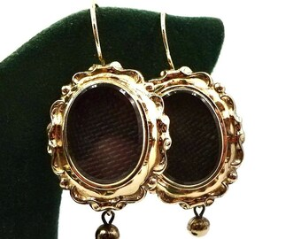 ANTIQUE MOURNING EARRINGS 9K Yellow Gold Hair Jewelry Victorian