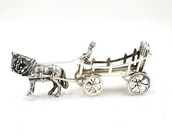 MINIATURE HORSE & CART Dutch 833 Silver Figural Horse Drawn Farm Wagon Goat Cart Farmer Figurine Hallmarked Vintage Antique  JM45