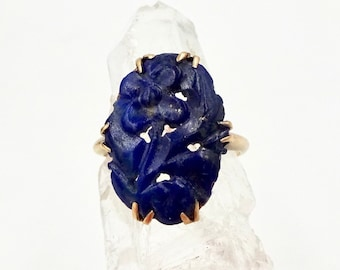 SODALITE GOLD RING 14k Yellow Gold Chinese Carved Blue Hardstone Sodalite Floral Cameo Ring Sz 8 Vintage Art Deco