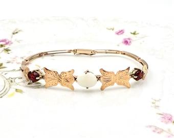 ANTIQUE GOLD BRACELET 10K Rose Gold Opal & Garnet Bracelet Vintage Art Deco E237