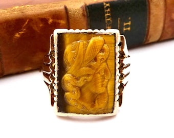 Victorian 10K YELLOW GOLD RING Tigers Eye Intaglio Carved Cameo Signet Ring Sz 10 1/4