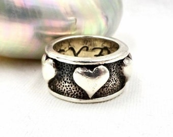 EXEX HEART RING Sterling Silver Unisex Band Ring Sz 8.5 By Claudia Agudelo Vintage Brutalist Style