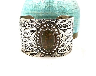 STERLING TURQUOISE CUFF Bracelet Sterling Silver Native American Stamped Patterns Wide Chunky Retro Vintage