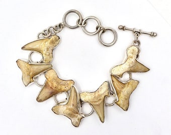 CHARLES ALBERT Alchemia Sterling Silver Fossilized Teeth Toggle Clasp Bracelet Vintage